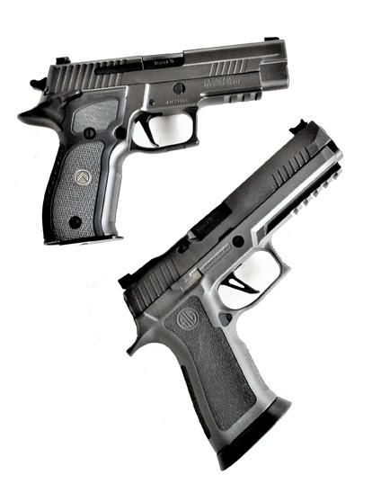 SIG P226 Legion pistol, top and SIG Sauer P320 X Five pistol bottom