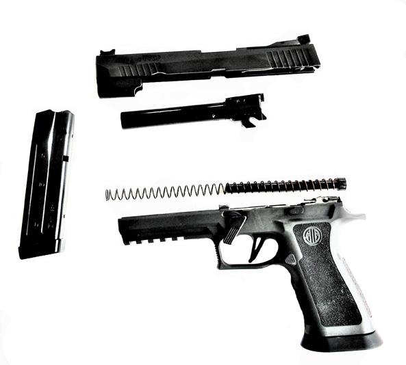 Field stripped SIG P320 V Five pistol