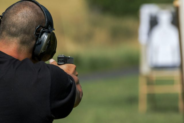 Police shooting practice at a shooting range