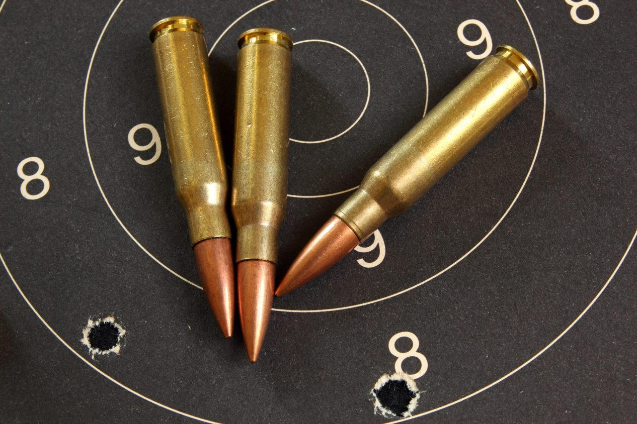.308 Winchester cartridges on black target with holes