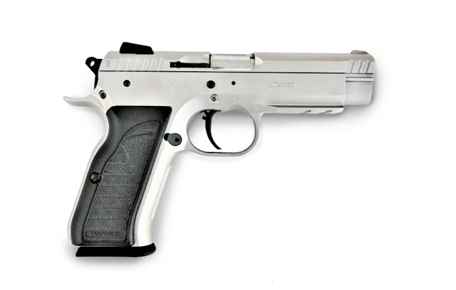 EAA Witness Match pistol right profile stainless with black grips