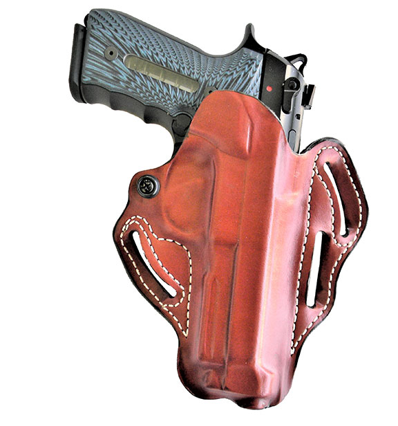 DeSantis Speed Scabbard leather holster with pistol