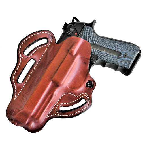 DeSantis Speed Scabbard holster with 3 belt loop holes and brown leather