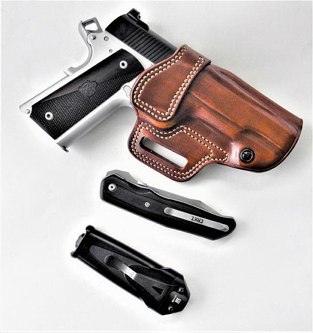 Springfield Ronin Operator Commander in a Galco Avenger holster Crimson Trace Stiletto light and CRKT BT 70 knife