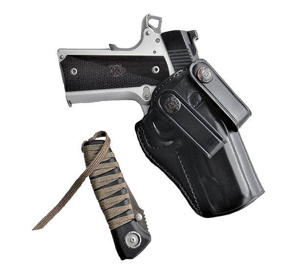 Galco's Summer Comfort inside the waistband holster with Springfield Ronin pistol and CRKT Para Cord knife