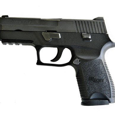 SIG P250 9mm handgun left profile black