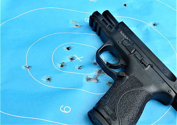 Smith & Wesson Military & Police 2.0 handgun with the slide locked to the rear