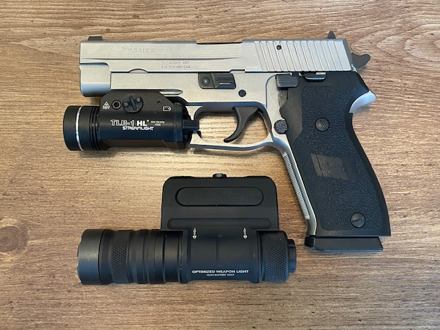 SIG p220 with streamlight and cloud defensive comparison