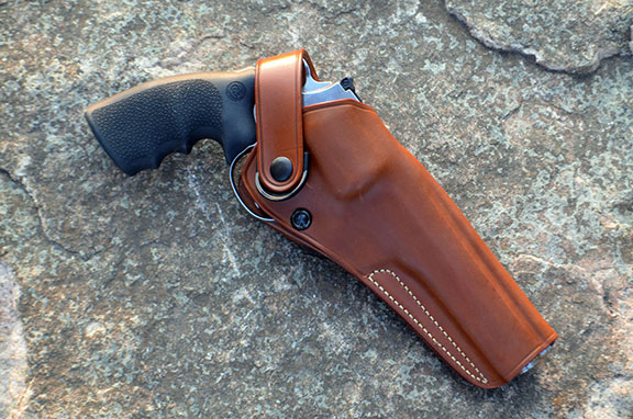 Galco DAO brown leather holster with the Anaconda revolver