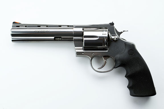Colt Anaconda Revolver .44 magnum left profile stainless-steel