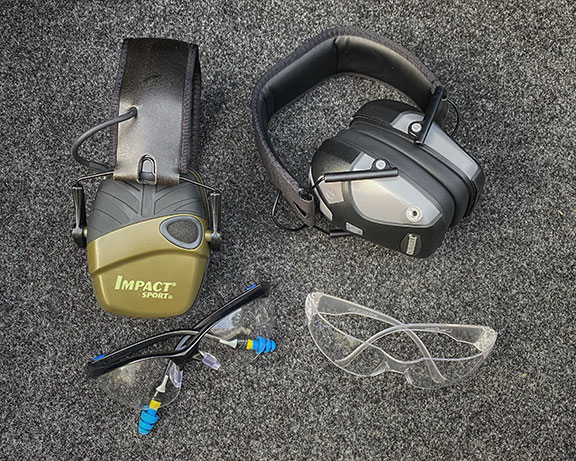Impact Sports electronic hearing muffs and shooting glasses