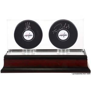 Autographed Washington Capitals Alex Ovechkin and Tom Wilson Fanatics Authentic Hockey Pucks with Mahogany Two-Puck Case