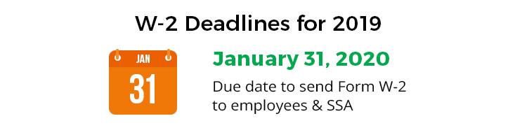 w2 deadlines 2019 2020