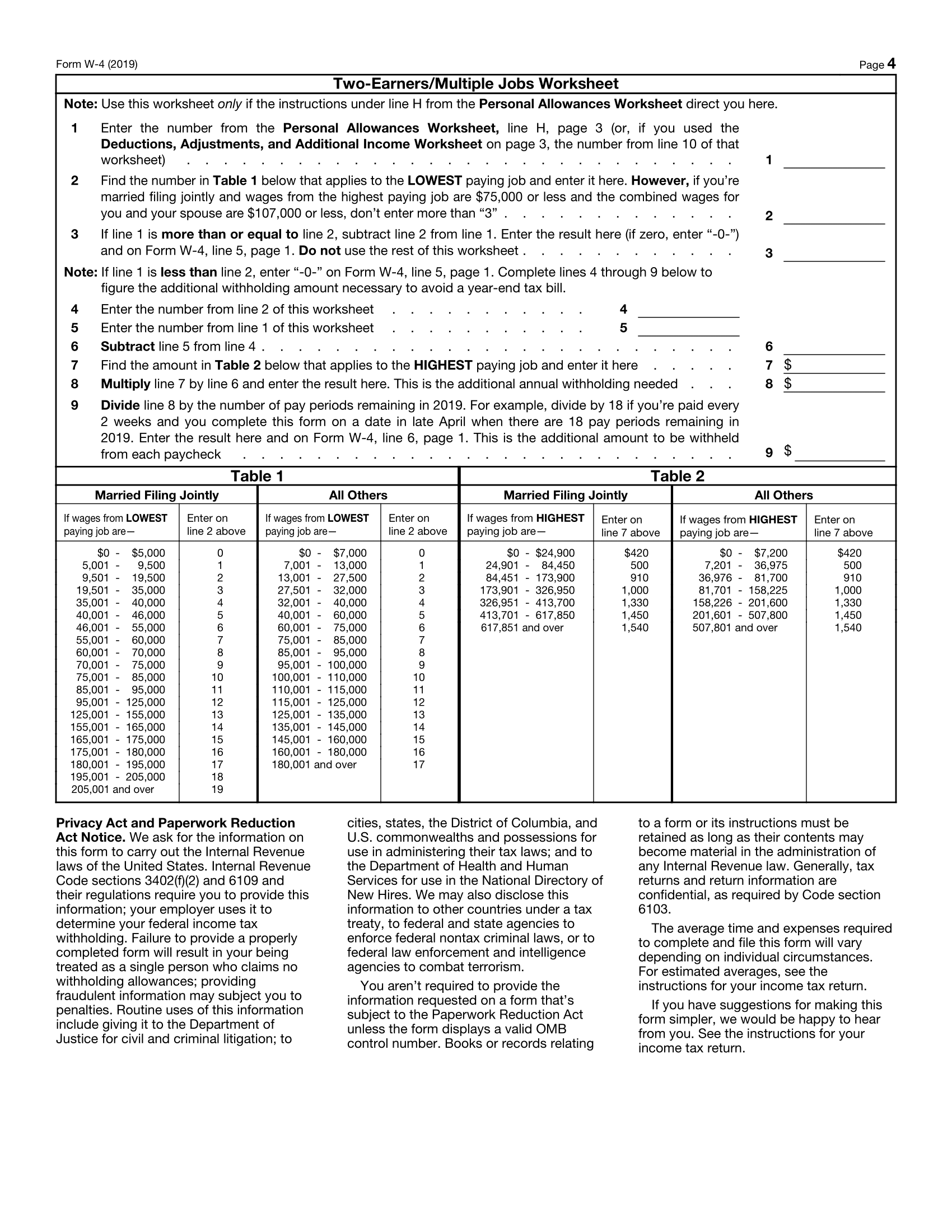 Form W-4 Page 4