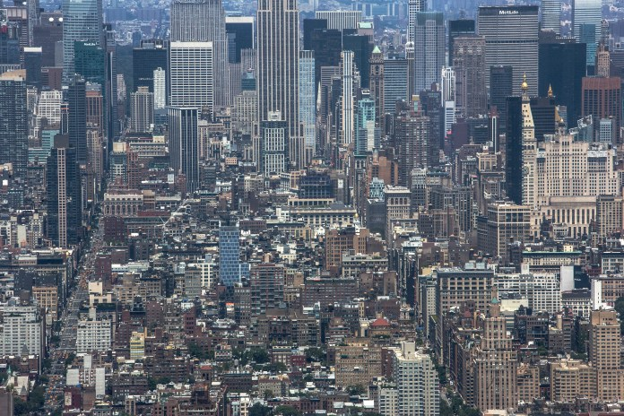 New York City cityscape seen from One World Trade Center