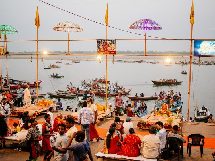 Aarti ceremony about to begin at the Ghat in Varanasi