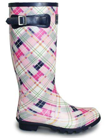 Lunar Pink Tartan Wellington Boot