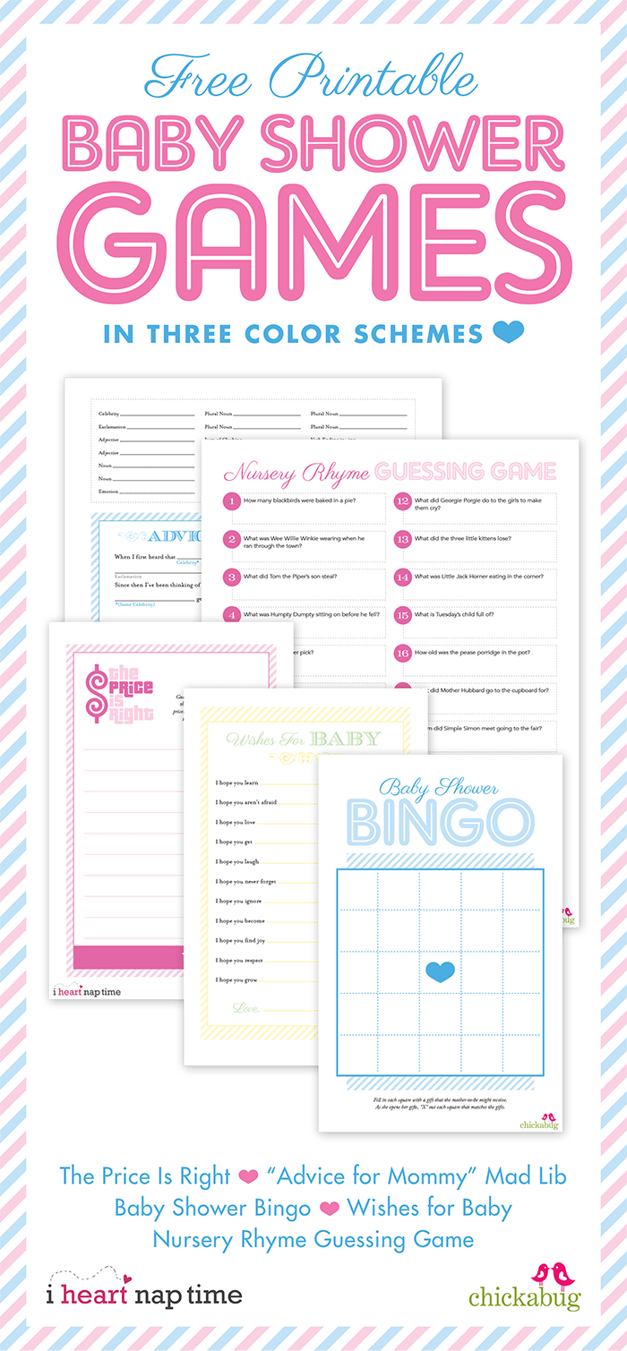 FREE printable baby shower games from Chickabug and I Heart Naptime! 5 games  in all
