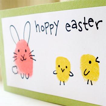 Easter Bunny And Chick Fingerprint Craft Chickabug