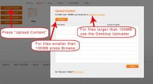 Screencast upload process copy