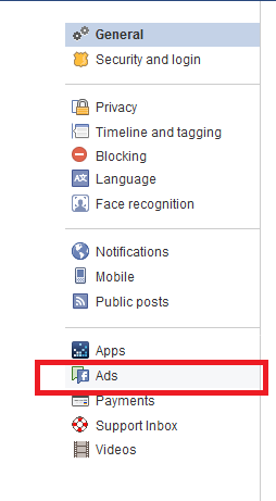 ads settings Facebook