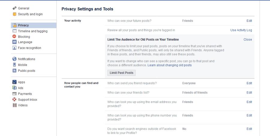 post settings Facebook