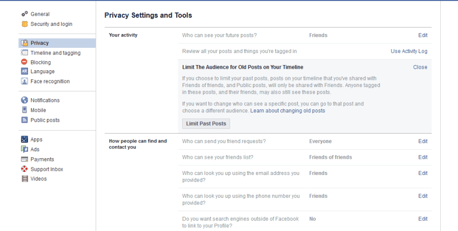 paramètres de publication Facebook
