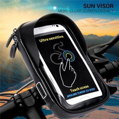 6.0 inch Waterproof Bike Bicycle Mobile Phone Holder Stand Motorcycle Handlebar Mount Bag for iPhone X Samsung LG Huawei black