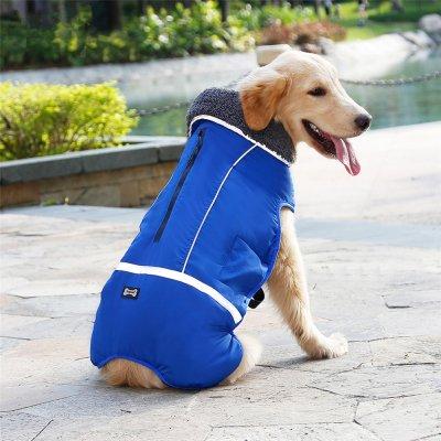 Winter Waterproof Outdoor Pet Dog Jacket Reflective Thicken Warm Coat Dog Clothes blue_XXL