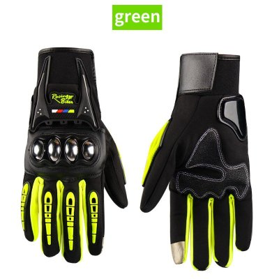Waterproof Motorcycle Gloves Outdoor Sports Hard Shell Protection Cycling Gloves Touch screen fluorescent yellow_L