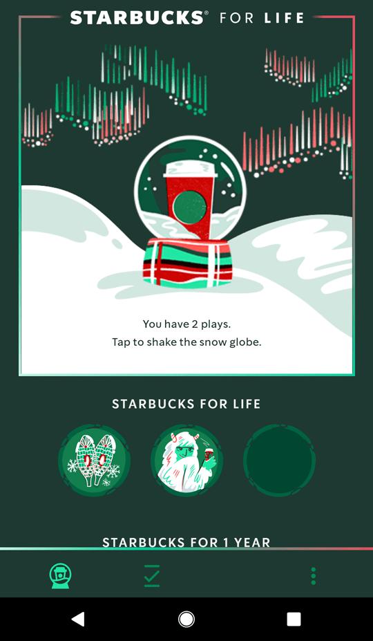 Starbucks for Life tokens page