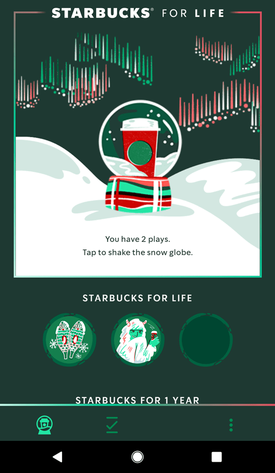 Starbucks for life, no purchase required