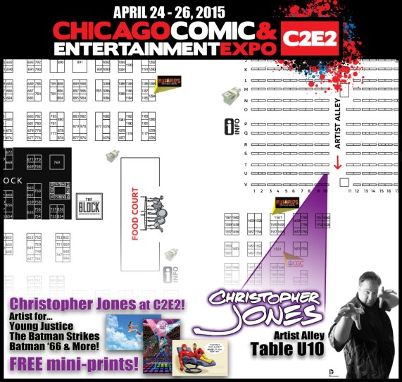 Map to find Christopher Jones at Artist Alley U10 during C2E2 2015