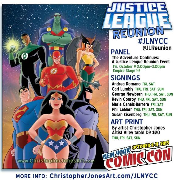 Justice League Reunion at NYCC 2015 Informational Graphic