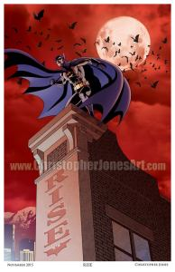 """Rise"" Art print, depicting Batman on a building ledge, with the word ""RISE"" on the side of the building. The sky is red and cloudy."