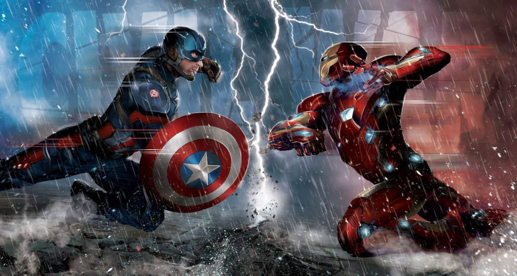 Artwork: Captain America vs. Iron Man in Captain America: Civil War (2016) Artwork: Captain America vs. Iron Man in Captain America: Civil War (2016)