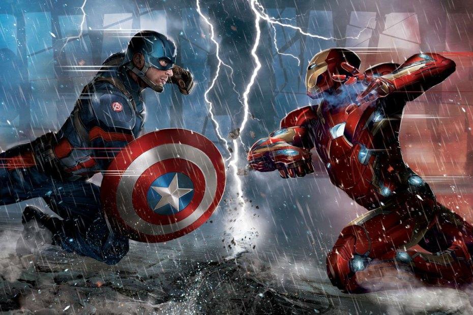Artwork: Captain America vs. Iron Man in Captain America: Civil War (2016) Artwork: Captain America vs. Iron Man in Captain America: Civil War (2016)