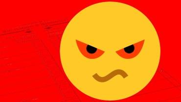 Grafik: Emoticon (Zorn) mit Wahlzettel auf rotem Grund