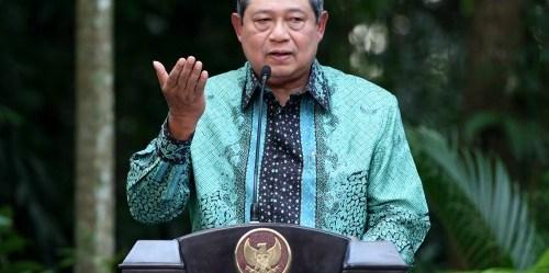 Presiden Yudhoyono menyampaikan kebijakan global di Center for International Forestry Research (CIFOR) di Bogor, Jawa Barat, Indonesia. (Photo: Dita Alangkara)