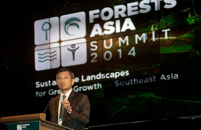 Singapore's Minister for Environment and Water Resources Vivian Balakrishnan delivers his speech during the Forests Asia Summit at the Shangri-La Hotel, Jakarta, Indonesia. CIFOR photo