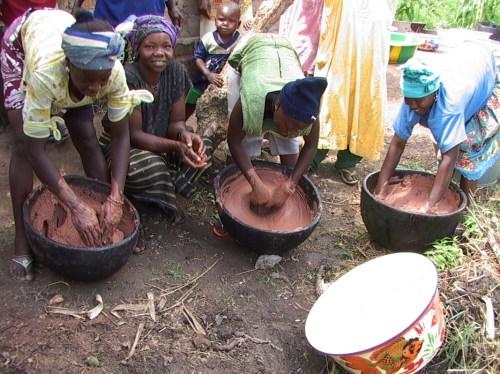 Kaum perempuan memproses kacang shea di Guinea. Berbagai perubahan di pasaran global menjungkirbalikkan rantai nilai tradisional kacang shea. Terry Sunderland/foto CIFOR