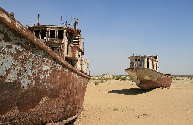 The Aral Sea between Kazakhstan and Uzbekistan was once one of the largest lakes in the world.