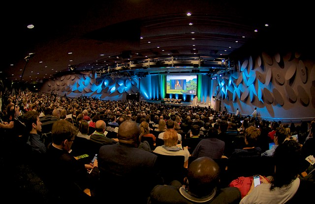 Speakers at the opening plenary of the 2015 Global Landscapes Forum, Paris, 5-6 December. Pilar Valbuena/CIFOR.