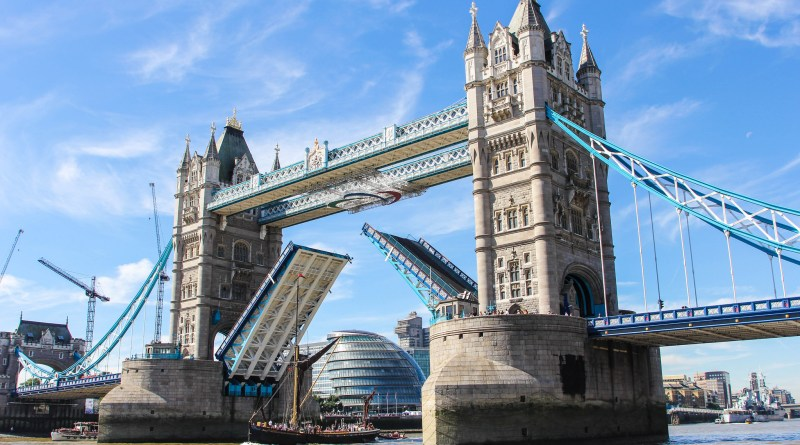 Tower Bridge London with the roadway lifted