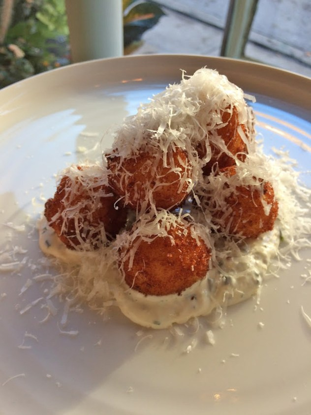 Chef Perry's fabulous risotto fritters at In Bloom