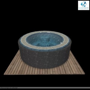 spa carrelé en plan 3D