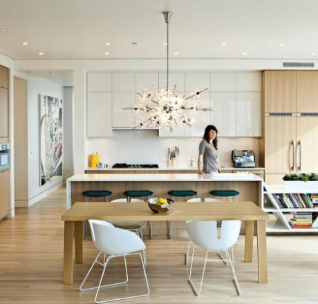 Love Our Bubbles Glass Chandelier Shown In This Modern Kitchen Setting The Helps To Soften Dramatic Lines Of Furniture And