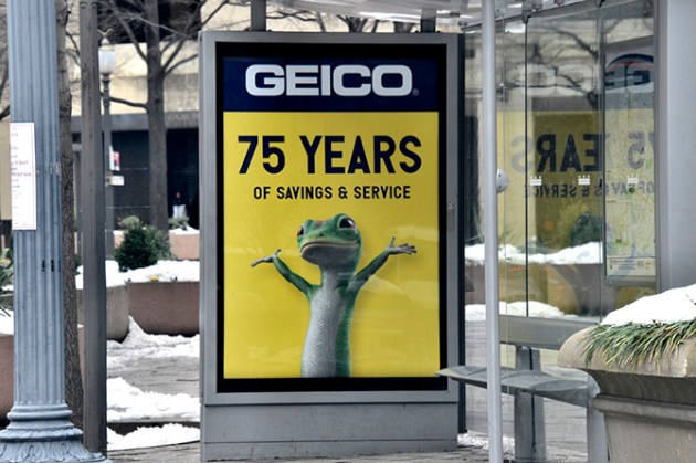 Geico 75 Years of Service Bus Ad