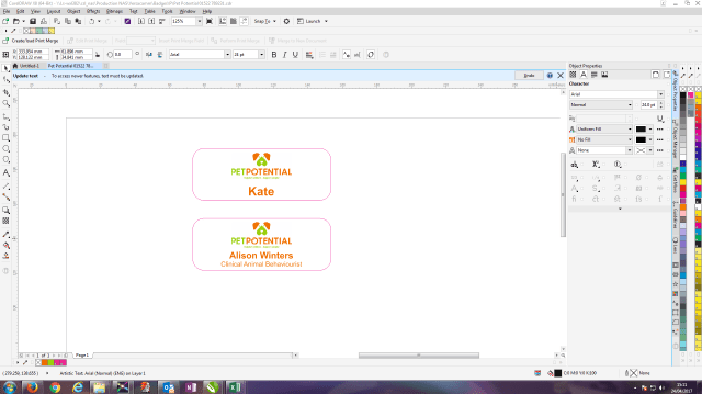 Screenshot of graphic designers workspace in corel draw.