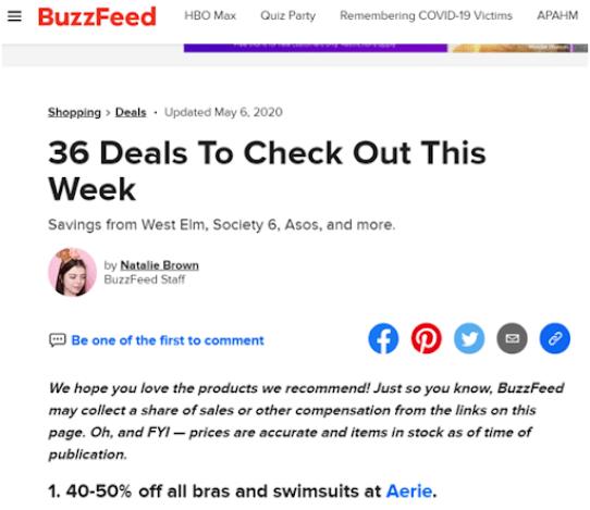 buzzfeed - affiliate